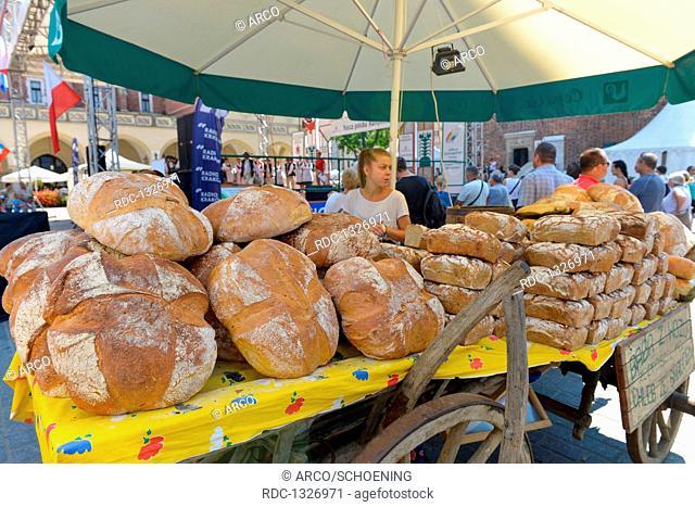 Brot, Wochenmarkt, Hauptmarkt, Krakau, Polen
