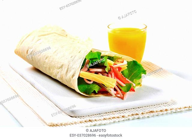 Easy ham and cheese salad wrap sandwich