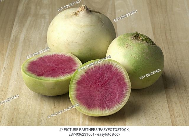 Whole and partial fresh raw watermelon radish