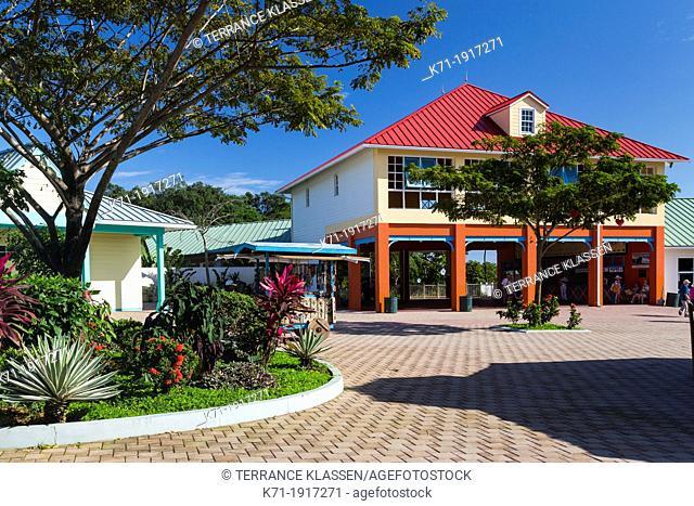 Shops and stores at the Mahogany Bay cruise ship terminal on Roatan island, Honduras