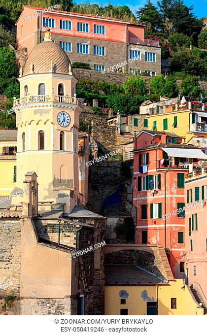 Beautiful sunset in summer Vernazza - one of five famous villages of Cinque Terre National Park in Liguria, Italy, suspended between Ligurian sea and land on...