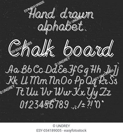 Hand drawin alphabet handwritting abc font on blackboard. Italic light thin line type letters, numbers and punctuation marks