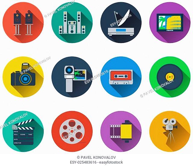Set of multimedia icons in flat design