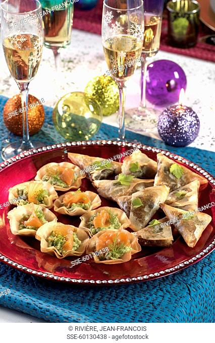 Sud-Ouest Croustillants , flower-shaped salmon and guacmole filo pastry tartlets
