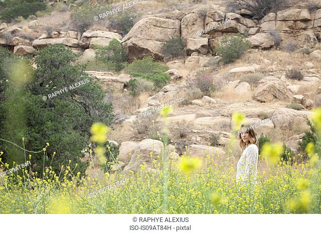 Woman enjoying fresh air in park, Stoney Point, Topanga Canyon, Chatsworth, Los Angeles, California, USA