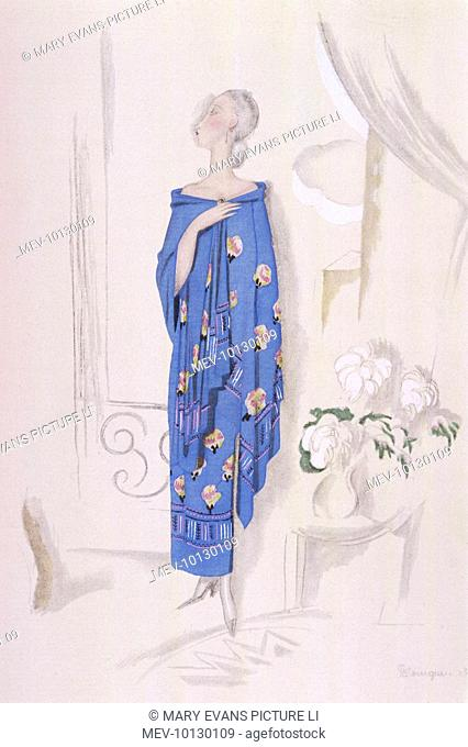 Tubular style strapless dress & matching shawl in blue with a stylised floral motif & border by Rodier