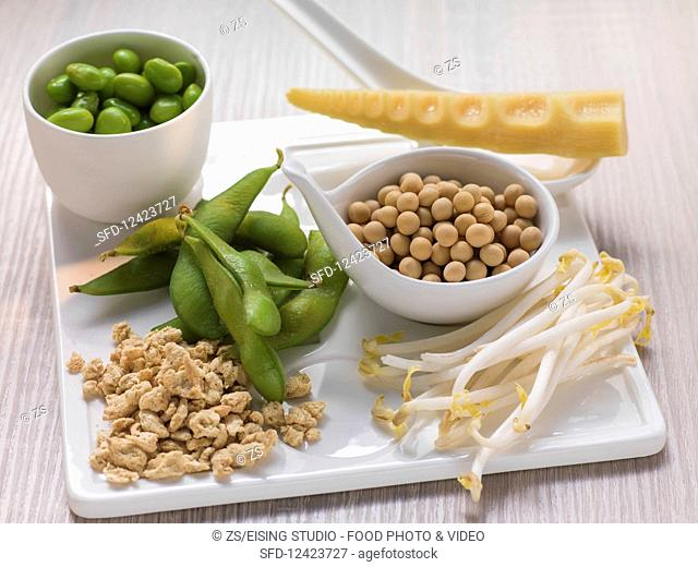 Green and dried soybeans, sprouts and soy granules