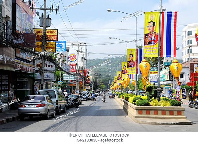 Flags of the Thai king in Hua Hin