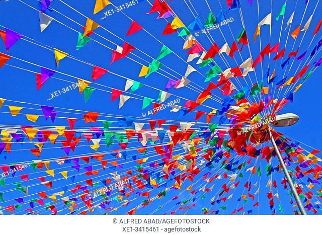 Streetlight and festive banners, street decoration, Festes de Sants 2019, Barcelona, ??Catalonia, Spain