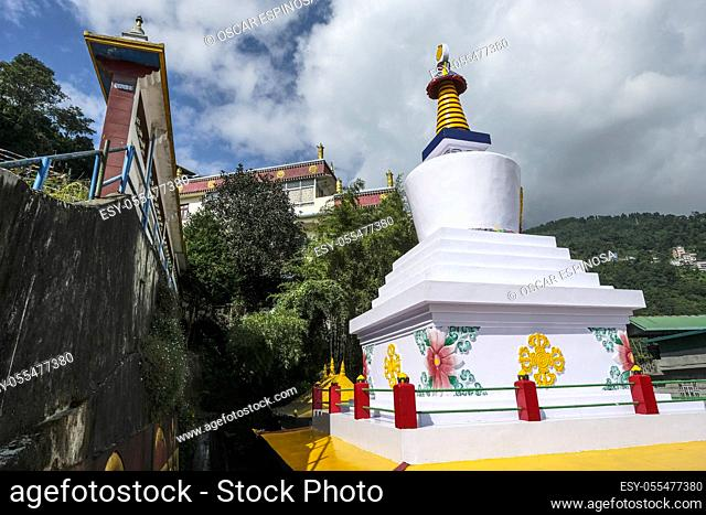 Gangtok, India - October 2020: Stupa in the Sera Jey Drophenling Monastery in Gangtok on October 23, 2020 in Gangtok, Sikkim, India