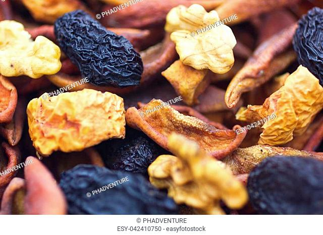 Dried fruits and nuts closeup