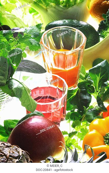 fresh vegetable and juices