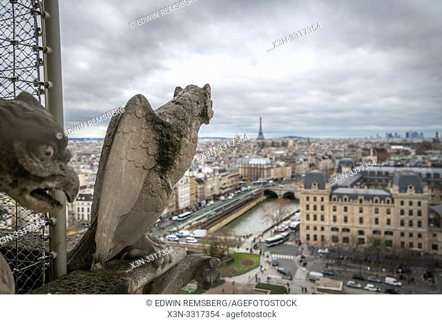 Gargoyles atop Notre Dame Cathedral, Paris, France. Notre Dame - Paris, France