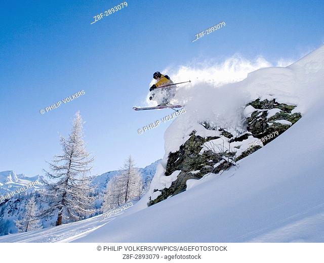 Freeride skiing, Val D'Isiere, France