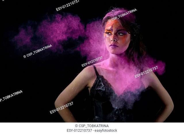 High Speed Photography Holi Powder on a Beautiful Woman