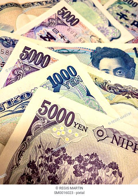 closeup of Japanese bank notes, the Japanese currency is called the Yen