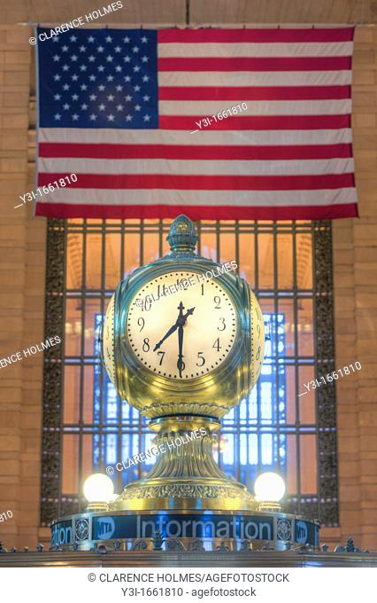 The clock on top of the information booth in Grand Central Terminal, in New York City. The clock, a famous meeting place, was manufactured by Seth Thomas
