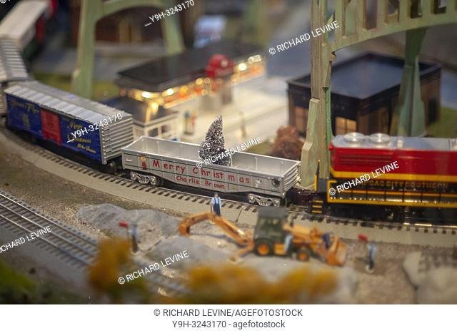 Visitors to the New York City Transit Museum in Grand Central Terminal in New York on Sunday, November 20, 2018 enjoy the 17th Annual Holiday Train Show