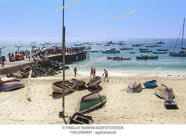 Beach and pier at Santa Maria, Sal Island, Salinas, Cape Verde, Africa