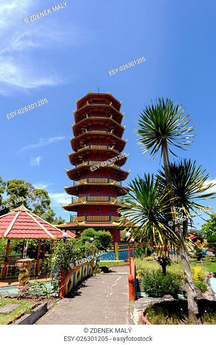 Beautiful Pagoda Ekayana, famous tourist place tourist near Tomohon on the Village Kaskasken, North Sulawesi Utara, Indonesia