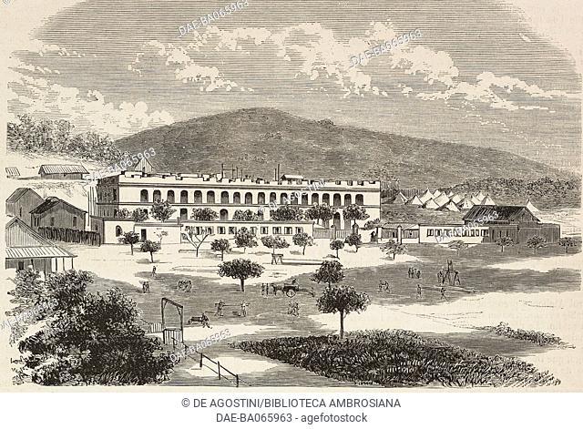 Infantry barracks in Noumea, New Caledonia, illustration from L'Illustration, Journal Universel, No 1696, Volume LXVI, August 28, 1875