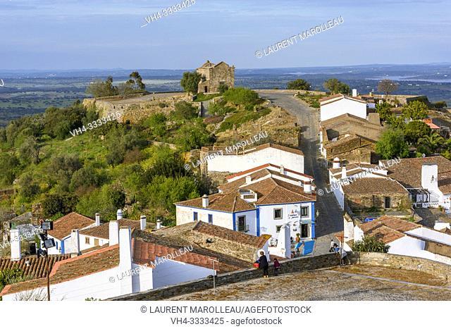 Monsaraz village with Sao Bento Chapel or Ermida de Sao Bento, Reguengos de Monsaraz Municipality, Evora District, Alentejo Region, Portugal, Europe