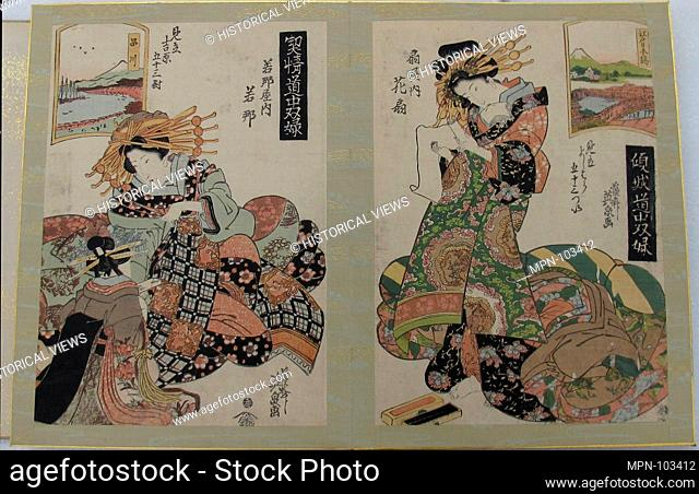 Album of prints from the series A Tokaido Board Game of Courtesans, Fifty-three Pairings in the Yoshiwara (Keisei dochu sugoroku, Mitate Yoshiwara gojusan tsui)