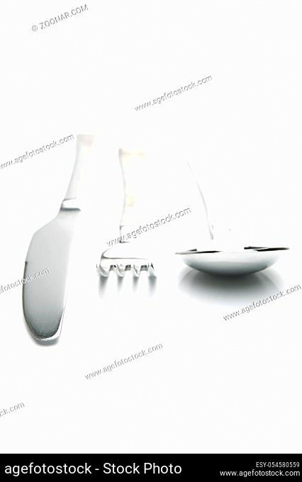 Cutlery isolated against a white background