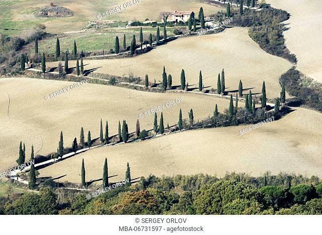 Picturesque serpentine road, surrounded by cypress trees and gray gound, is leading to a villa on a hill top. Tuscany, Italy