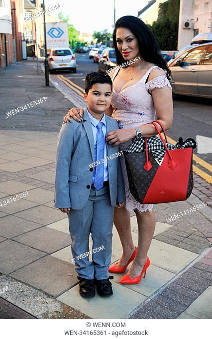 Ballet at Wimbledon Theatre - Arrivals Featuring: Janine Nerissa, and Son Gabriel, Gabriel (son) Where: London, United Kingdom When: 05 May 2018 Credit: WENN