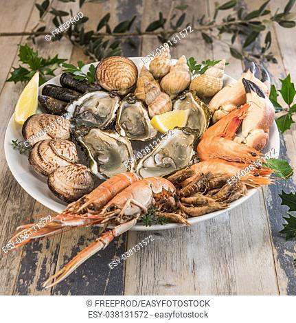 Fresh seafood platter with lobster mussels and oysters, France