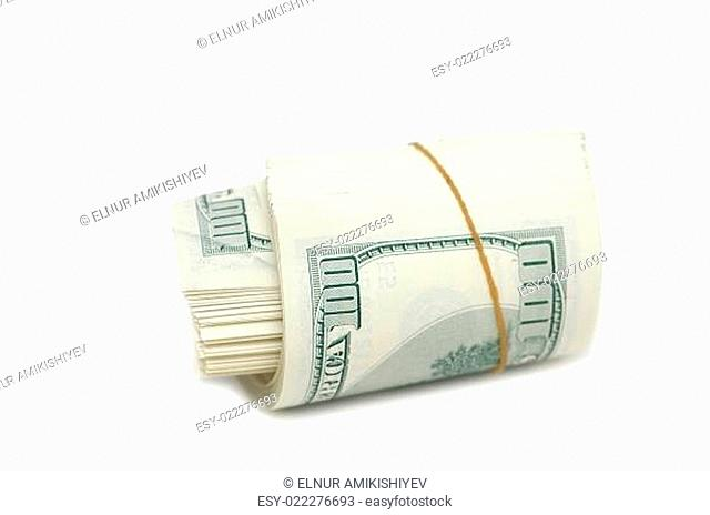 Dollar roll isolated on the white background