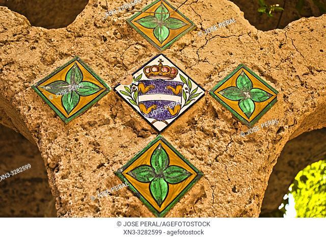 Tiles painted on the columns of the courtyard, Villa Cimbrone, Ravello, Amalfi coast, Campania, Italy, Europe