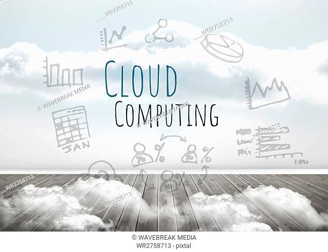 Cloud Computing text with drawings graphics