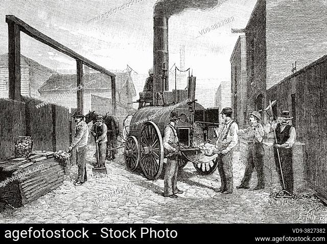 Chicago Incineration Garbage Shredder. Old 19th century engraved illustration from La Nature 1893