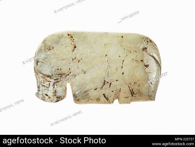 Buffalo Pendant - Western Zhou period, 11th–10th century B.C. - China - Origin: China, Date: 1100 BC–900 BC, Medium: Jade, Dimensions: 1 3/4 × 2 1/16 × 1/4 in