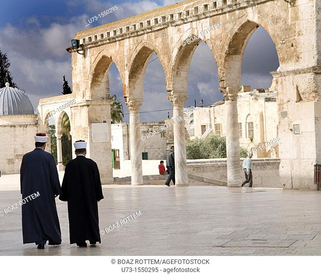 Imams walk out of the Al Aqsa mosque on the Temple mount in the old city of Jerusalem