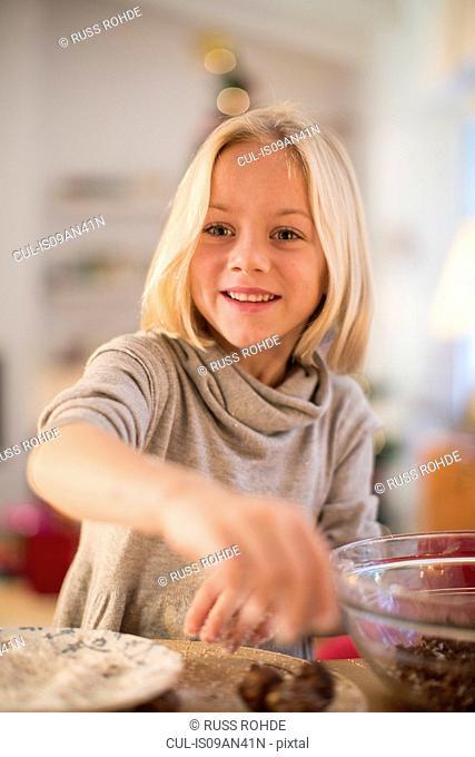 Girl baking for Christmas