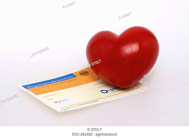 Organ donor card with heart