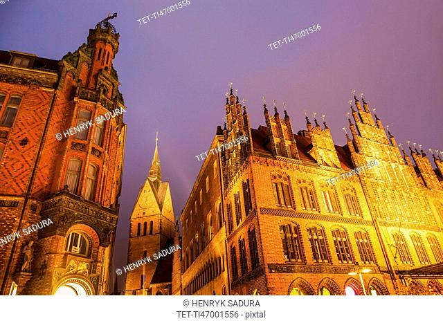 Marktkirche and Old Town Hall in Hanover Hanover (Hannover), Lower Saxony, Germany