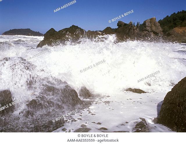 Wave crashing, Trinidad Beach, CA California