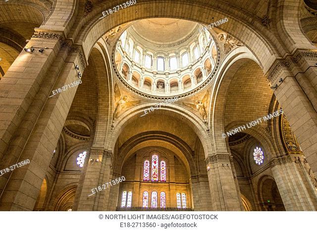 Inside the Sacre Coeur Basilica, Montmartre, Paris, France