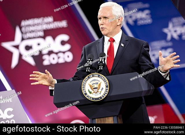 OXON HILL, Md. - FEBRUARY 27: U.S. Vice President Mike Pence speaks at the Conservative Political Action Conference, CPAC 2020, in Oxon Hill, Md