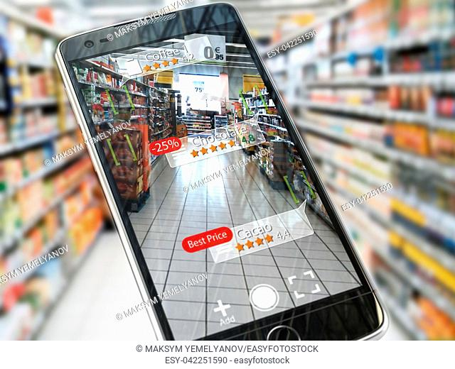 Augmented reality marketing application concept. Mobile smart phone check relevant information about product in the supermarket. 3d illustration