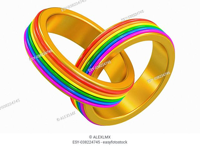 same-sex marriages concept with rainbow rings