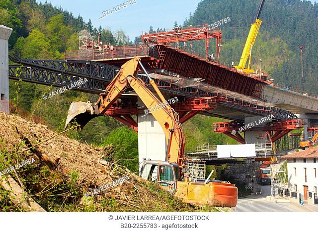 Bridge construction. Highway. Near Antzuola. Gipuzkoa. Basque Country. Spain
