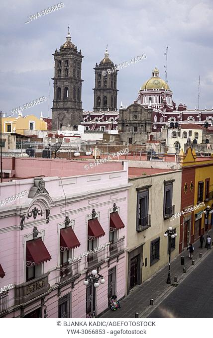 View from the roof of the Amparo Museum including the Cathedral, Puebla, city in east-central Mexico