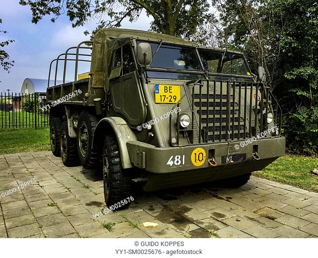 Den Bosch, 's-Hertogenbosch, Netherlands. A Historical Army Truck parked on the grounds of a veteran's club and museum