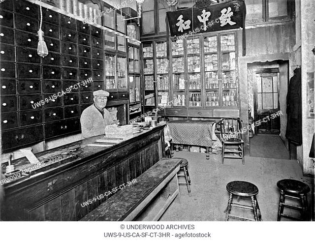 San Francisco, California: c. 1885.A Chinese apothecary in Chinatown in San Francisco