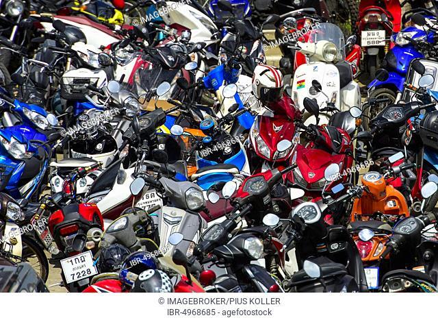 Many parked scooters, Bangkok, Thailand, Asia